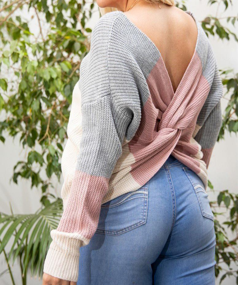 Twisted Open Back Sweater