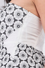 Load image into Gallery viewer, White & Black Floral Crochet Mini Dress