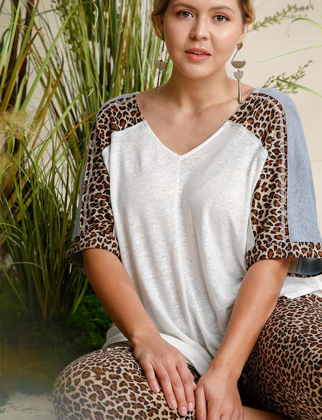 Linen Blend Animal Print See Through Top