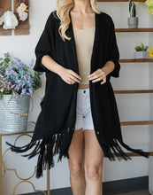 Load image into Gallery viewer, Draped Poncho Cardigan With String Detail