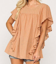 Load image into Gallery viewer, Textured Ruffle Sleeve Tunic Top