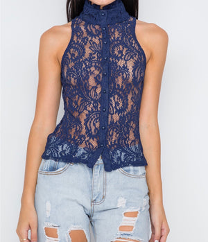 Navy Blue Sheer Lace Top