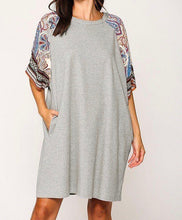 Load image into Gallery viewer, Grey Solid Side Pocket Shift Dress