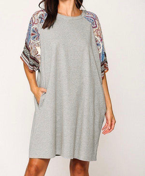 Grey Solid Side Pocket Shift Dress