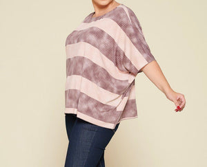 Stripe Printed Pleated Top