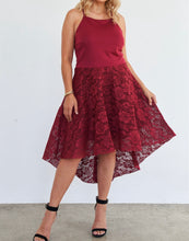 Load image into Gallery viewer, Cabernet Hi-low Floral Lace Maxi Dress