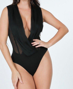 Black Overlap Bodysuit