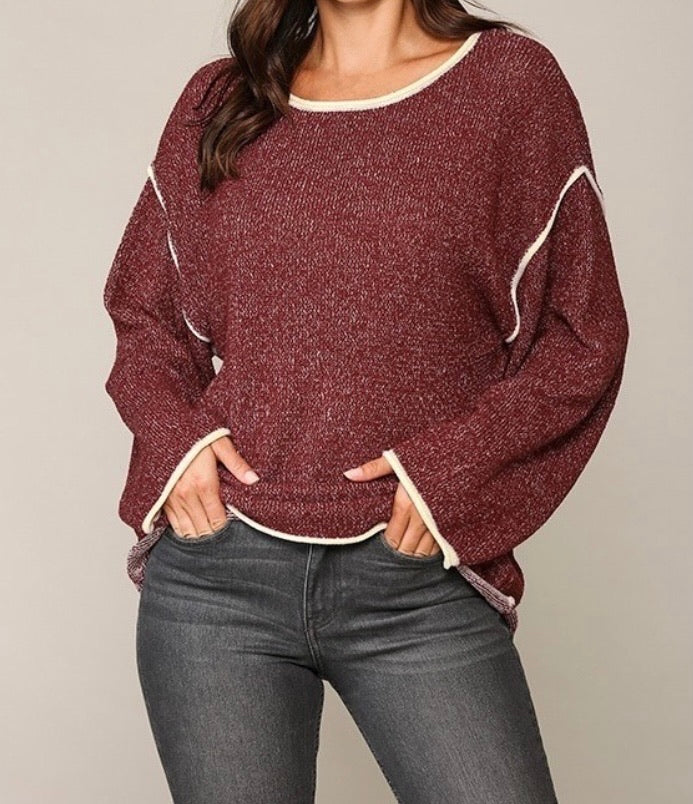 Two-tone Sold Sweater Top