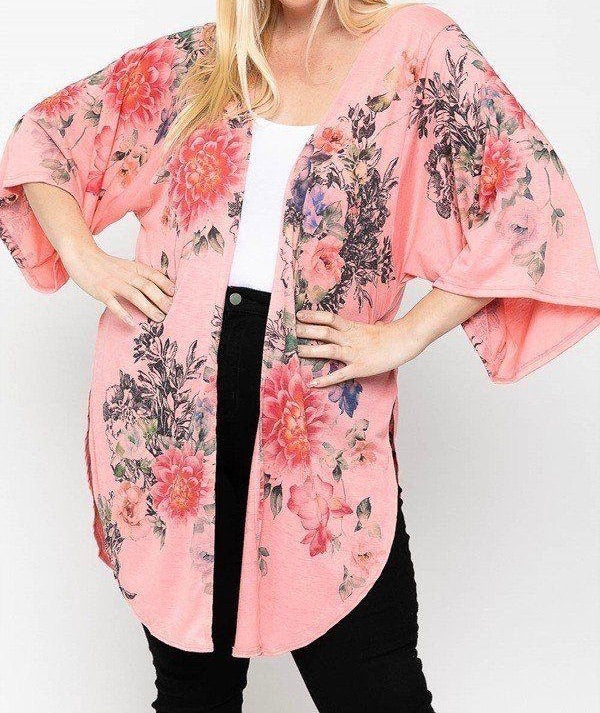 Coral Floral Long Body Cardigan