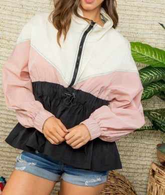 High Neck Zipper Color Block Windbreaker