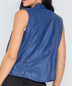 Blue Vegan Leather Moto Vest