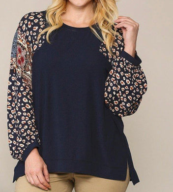 Animal And Paisley Mixed Tunic Top