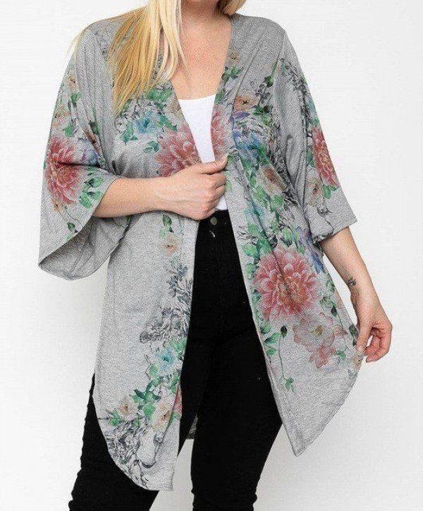 Grey Floral Long Body Cardigan