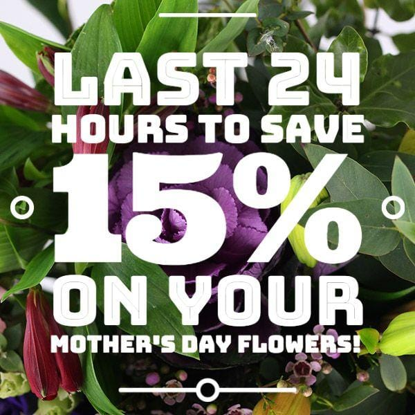 Last 24 Hours to Save 15% on your Mother's Day Flowers!