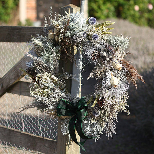 Get well into Winter with our Emerald Dried Flower Wreath!