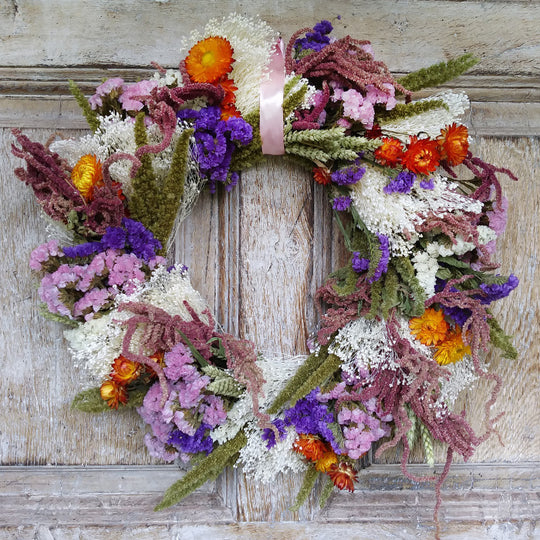 INTRODUCING... Our New Midsummer Medley Dried Flower Wreath!