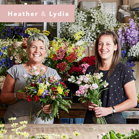 Hev and Lydia in the florist workshop