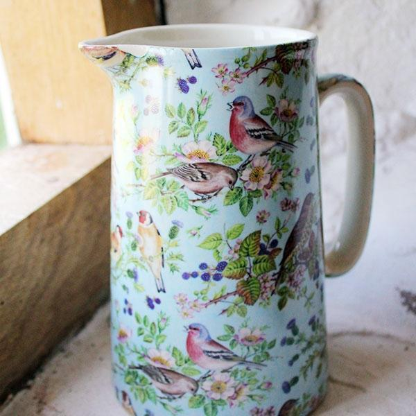 British Birds Pottery Jug (Blue)