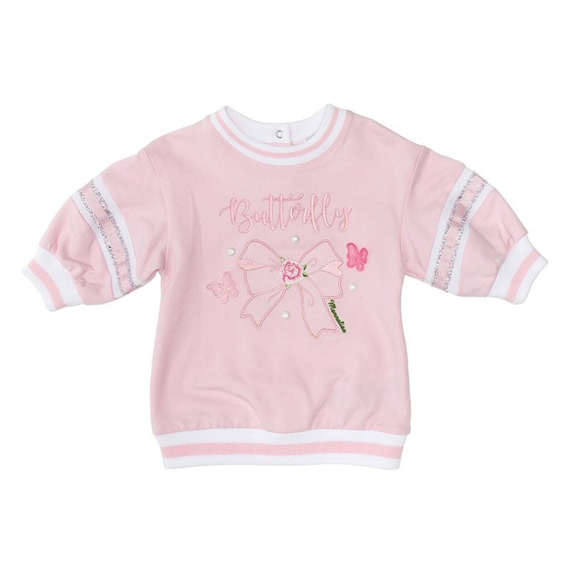 Monnalisa Bebe Butterfly Sweatshirt Dress