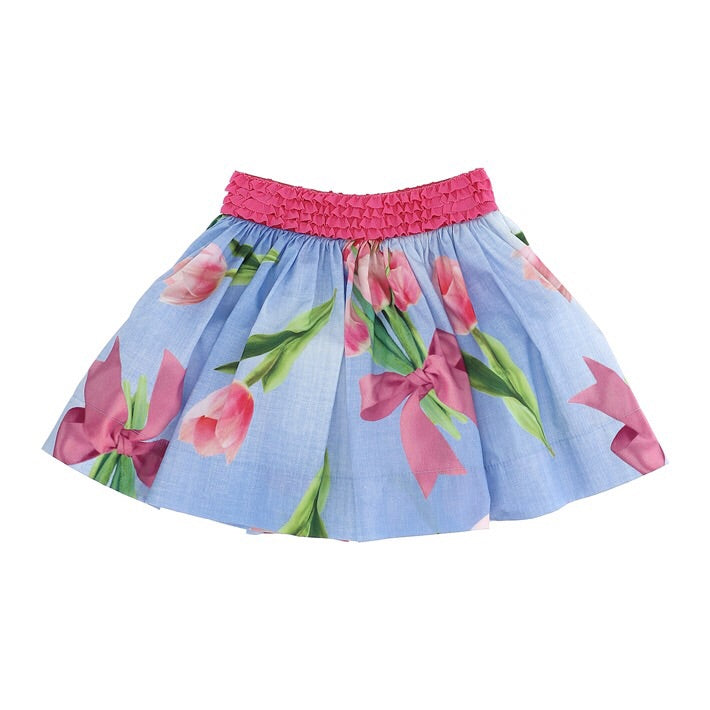 Monnalisa Floral Skirt with Tulips
