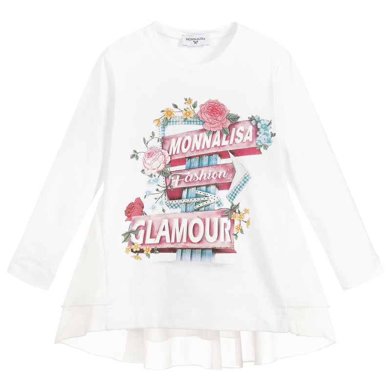 Monnalisa White Slogan Top