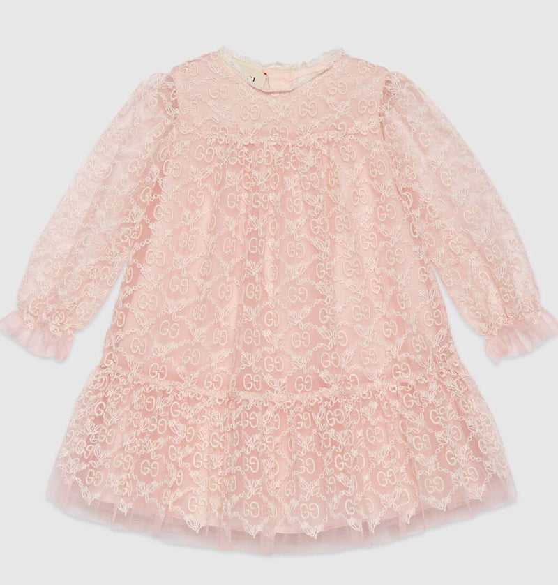 Gucci Pink GG Embroidered Dress