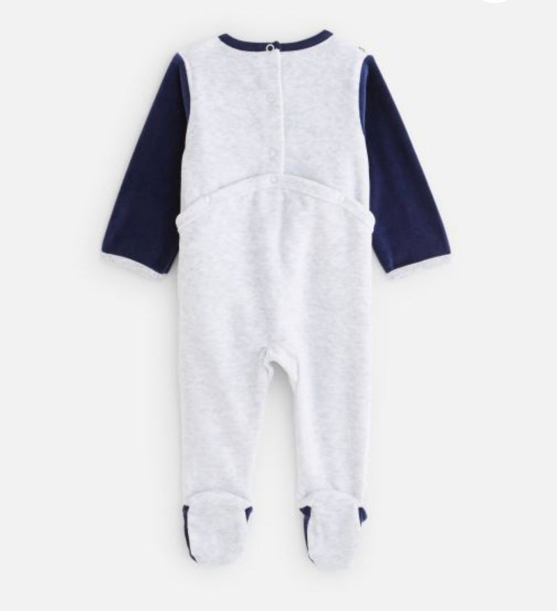 Absorba Grey Velour Baby Grow