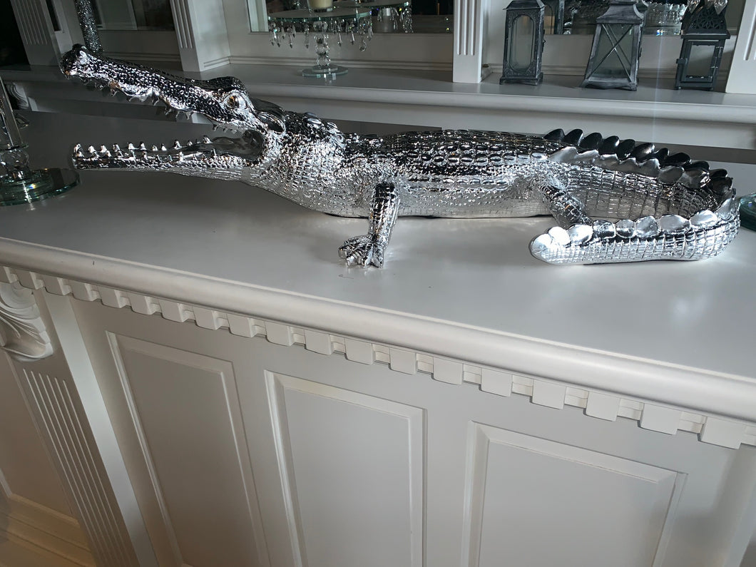 Silver Resin Crocodile