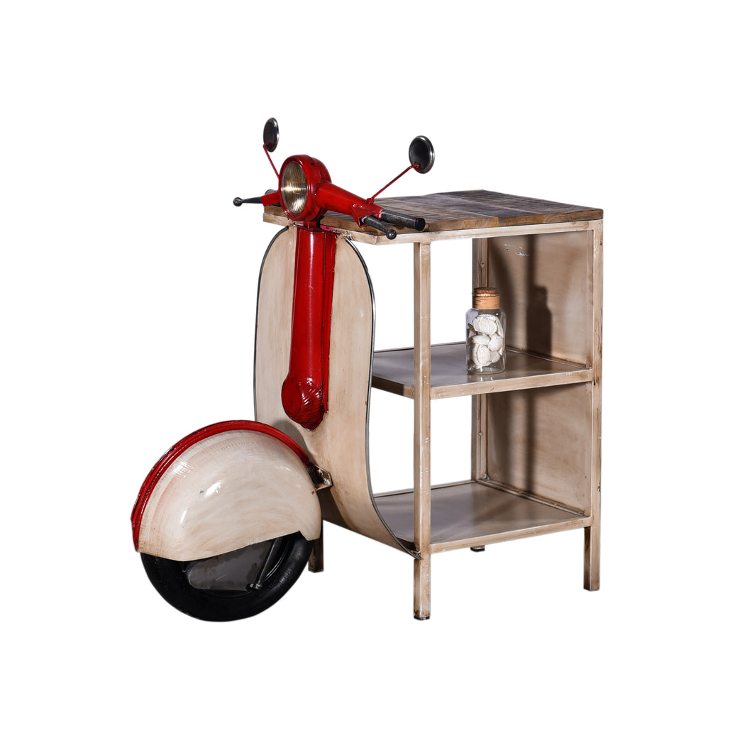 Retro White and Red Vespa Side Table