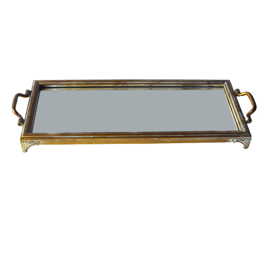 Brass Metal Mirrored Serving Tray
