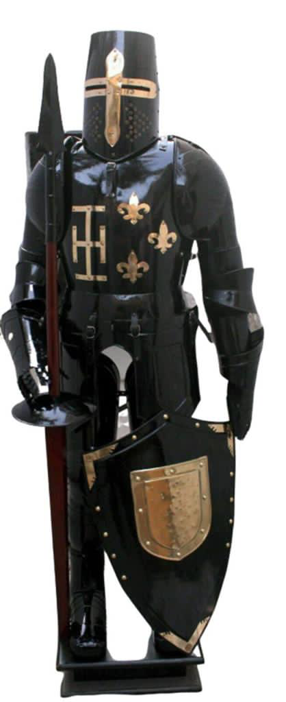 Huge Black and Brass Medieval Suit of Armour