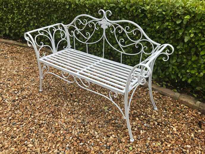 White Ornate Bench