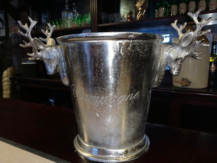 Heavy Nickel Champagne Bucket with Stags Head Handles