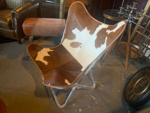 Vintage Style Cow Hide Butterfly Chair on Black Metal Industrial Base