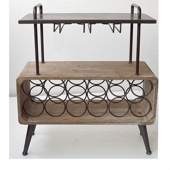 Bottle Holder and Glass Rack Side Table