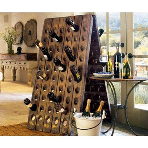 120 Bottle Free Standing Oak Champagne Rack
