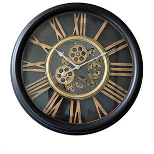 Large Wall Clock with Moving Gears