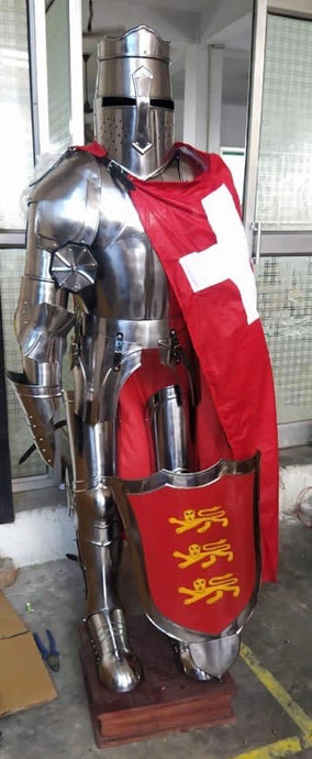 Huge Medieval Suit of Armour with Shield & Red Flag