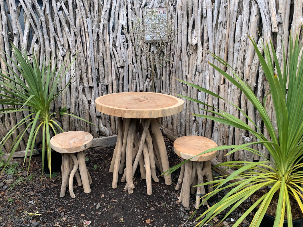 Driftwood Twist Patio Table and Stools