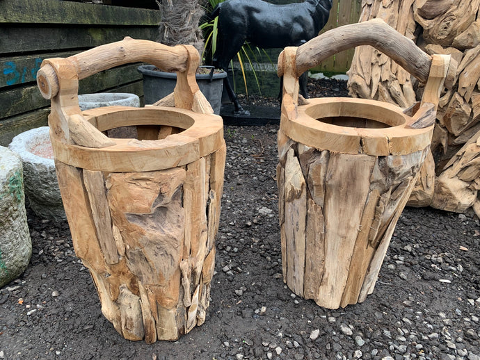 Large Heavy Driftwood Buckets With Handle