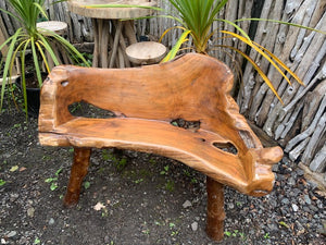 Unique Highly Polished Teak Root Wood Bench