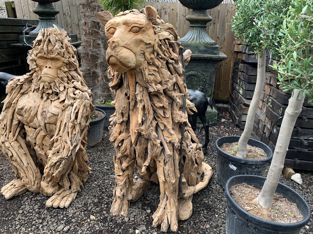 Massive Hand-Carved Driftwood Sitting Lion