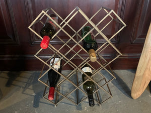 Exceptional Designer Wine Rack in a Brass Finish