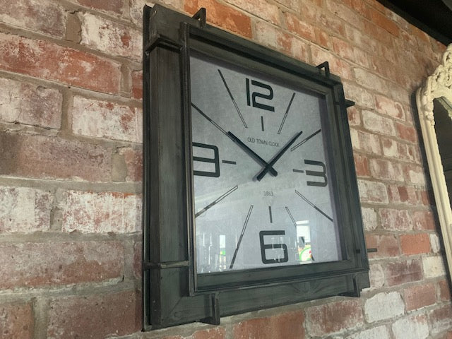 Square Industrial Wall Clock