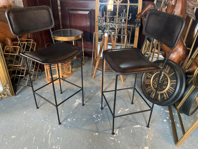 Pair of Large High back Vintage Leather Bar Stools in Black