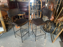 Load image into Gallery viewer, Pair of Large High back Vintage Leather Bar Stools in Black