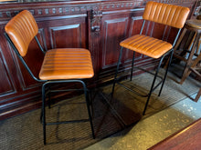 Load image into Gallery viewer, Pair of Vintage Style Ribbed Leather Bar Stools