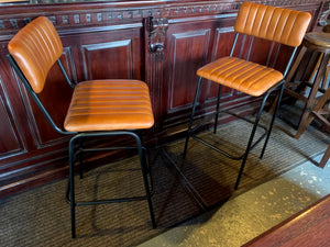 Pair of Vintage Style Ribbed Leather Bar Stools