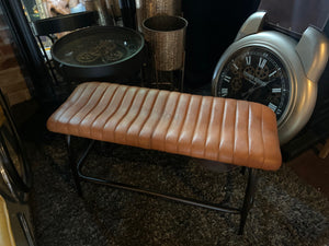Vintage Industrial Style Ribbed Leather Bench in Tan