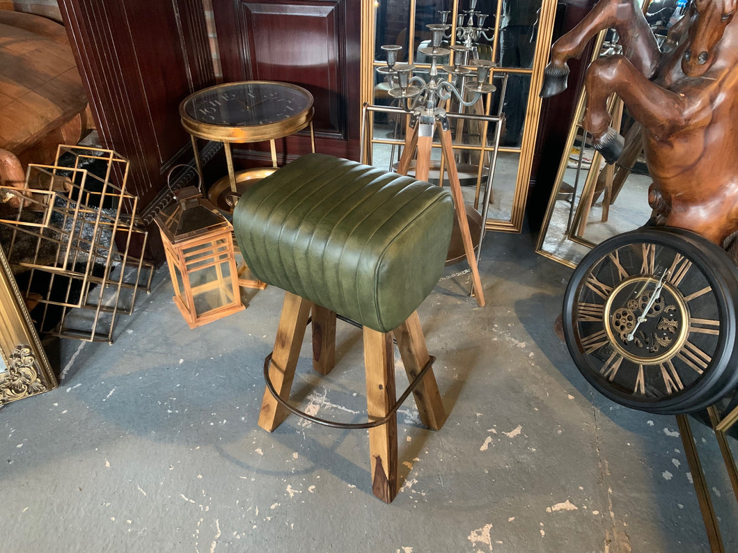 Ribbed Leather Pommel Horse Bar Stool in Green